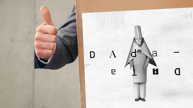 Eine Hand zeigt mit dem Daumen nach oben. Daneben das Bild eines Männchens in Kartonkostüm.