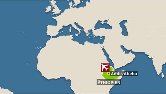 Karte Äthiopiens mit Markierung der Hauptstadt Addis Abeba.
