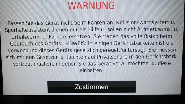 Screenshot des Startbildschirms der Nüvicam mit dem Hinweis, dass der Fahrer das volle Risiko trägt