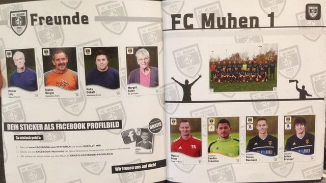 Nahaufnahme des Sammelhefts des FC Muhen mit einigen Spielern und Freunden des Vereins