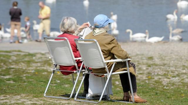 Zwei ältere Frauen sitzen auf Campingstühlen an einem See.