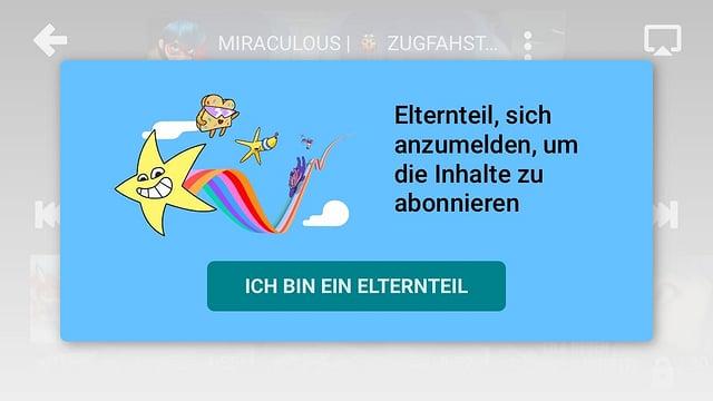 Screenshot aus der YouTube Kids App mit den Einstiegsbildschirm für Eltern