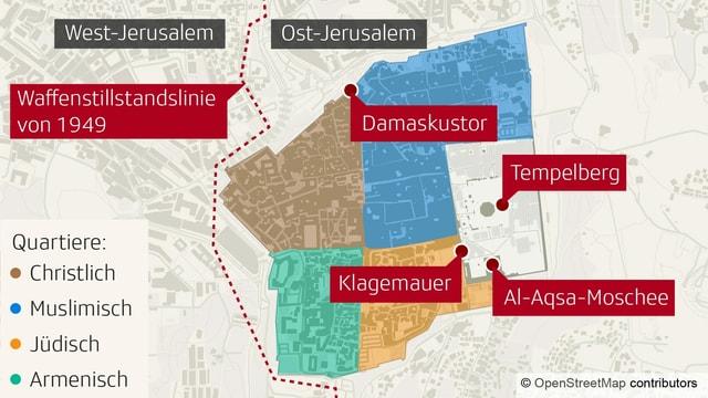 Die Stadt Jerusalem hat vier kulturell und religiös verschiedene Stadtteile.