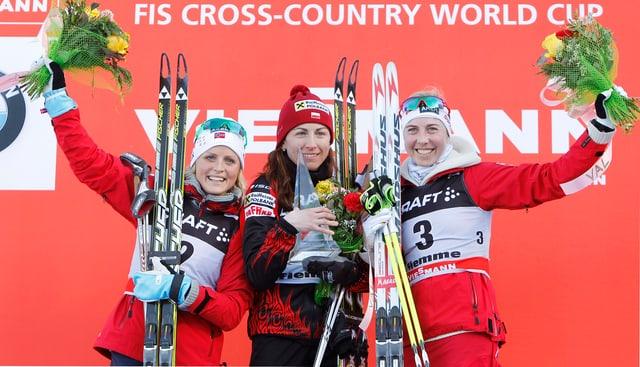 Therese Johaug, Justyna Kowalczyk und Kristin Störmer Steira (v.l.n.r.)