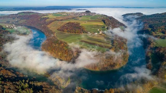 Blick von einer Drohne auf den Nebel über dem Rhein bei der Tössegg, Irchel (rechts) und Buchberg/SH sind nebelfrei.