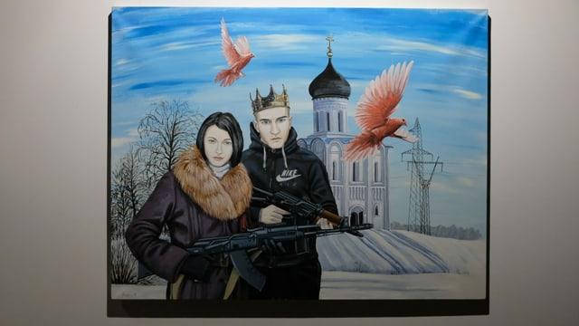 Das Bild eines Paars mit Kalaschnikows.