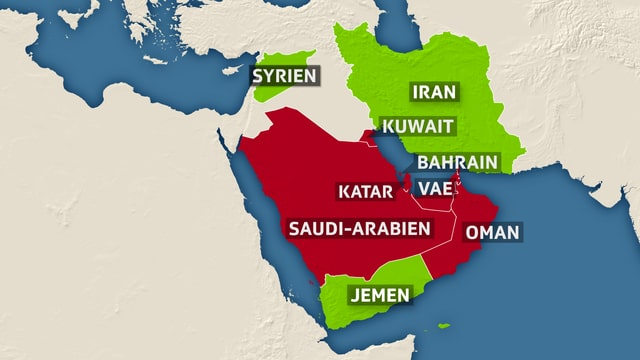Kartenausschnitt vom Persischer Golf mit den Ländern der arabischen Halbinsel.