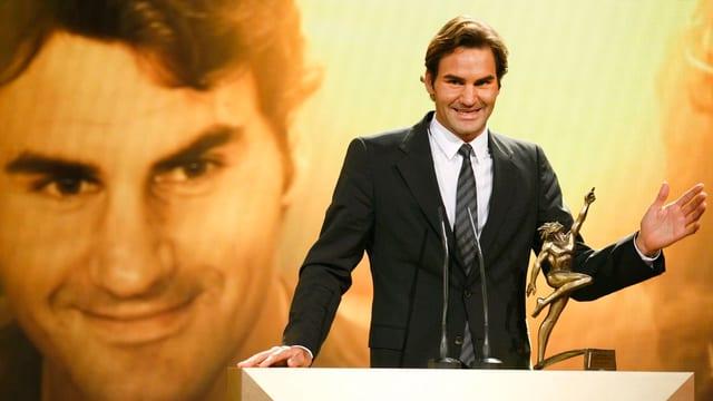 Roger Federer bei seiner Dankesrede nach der Wahl zum Schweizer Sportler des Jahres.