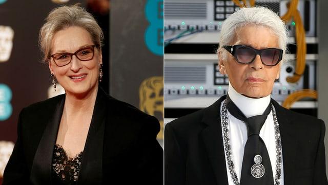 Porträt von Meryl Streep. Porträt von Karl Lagerfeld.