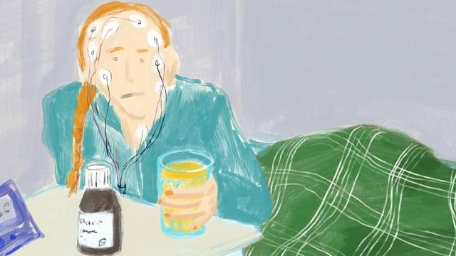 Illustration einer Frau mit diversen Elektroden am Kopf, die mit trüber Miene an einem Tisch sitz und ein Getränkeglas in der Hand hält.
