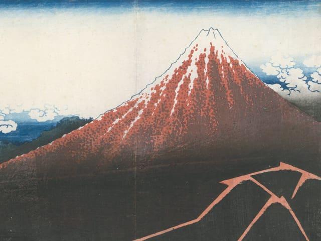 japanischer Holzschnitt eines dunkelroten Berges