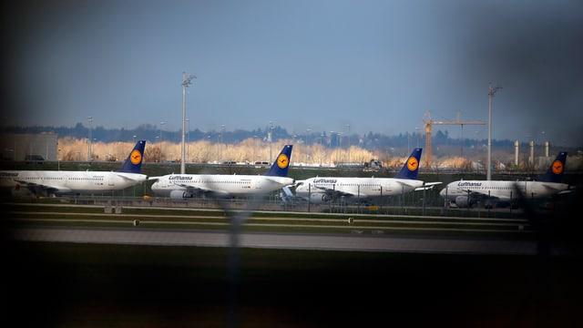 Lufthansa-Flugzeuge stehen am Flughafen München