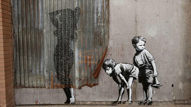 Graffito von Street-Art-Künstler Banksy.