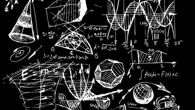Weisse Mathematische Zeichnungen auf einer schwarzen Tafel.