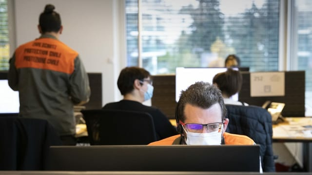 Büro, Menschen arbetien an Bildschirmen.