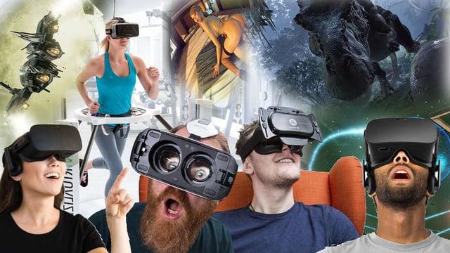 Verschiedene Menschen tragen VR-Brillen und man sieht was die VR Technologie so im Schilde führt.