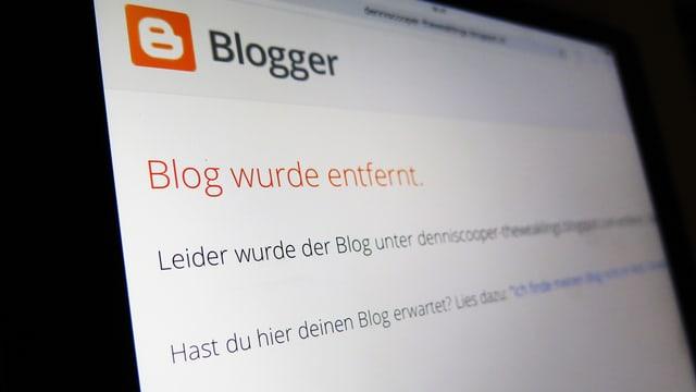 Ein Screenshot zeigt den entfernten Blog von Dennis Cooper.