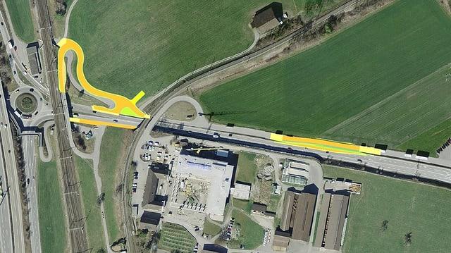 La carta da la zona pertutgada a Landquart cun nudà cun ina colur las aprts da la via che vegnan fatgas nov.