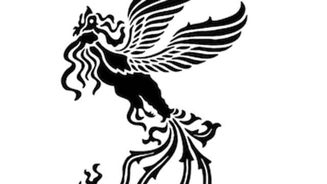 Abstrakte Schwarz-weiss Zeichnung eines fliegenden Pferds.