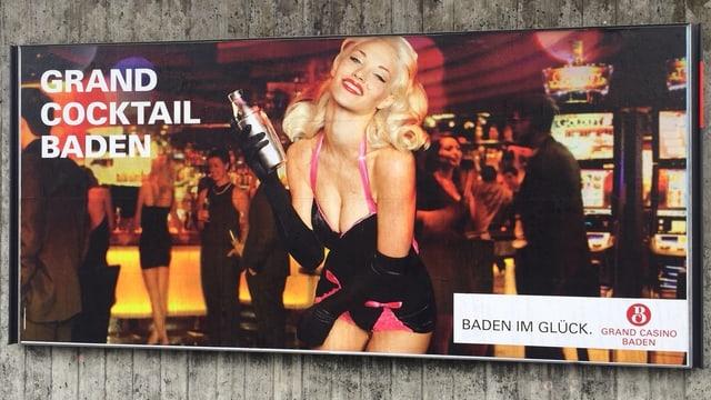 Ein Plakat mit einer knapp bekleideten Frau und und der Aufschrift Grand Casino Baden
