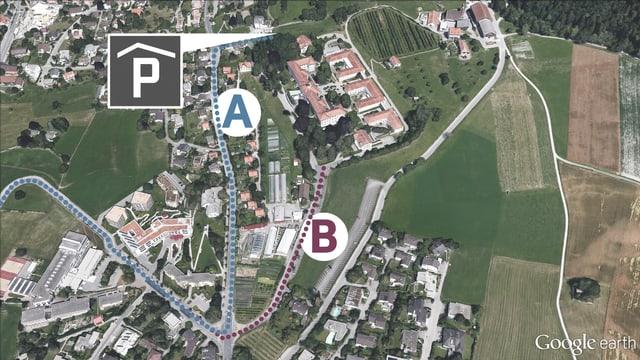 A: La nova via d'access a la garascha sutterrana duai manar permez il quartier abità da Masans. B: La via actuala maina sur il quartier si a l'entrada da la clinica Waldhaus.
