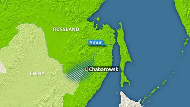 Karte vom Osten Russlands und Chinas.
