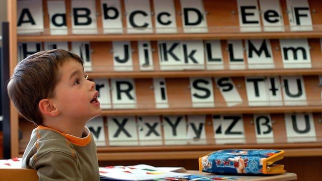 Schüler vor Alphabet.