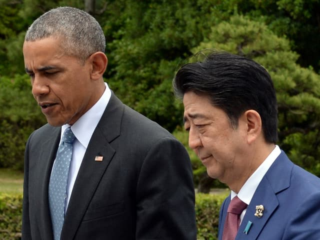 Il president american Barack Obama ed il primminister giapunais Shinzo Abe.