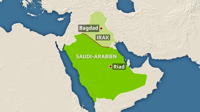 Kartenausschnitt, der die Grenze zwischen Saudi-Arabien und dem Irak zeigt