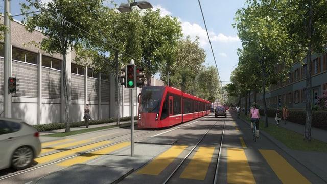 Visualisierung des Projekts Tram Bern-Ostermundigen an der Viktoriastrasse.