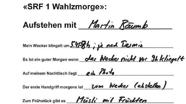 Handschrift von Martin Bäumle.