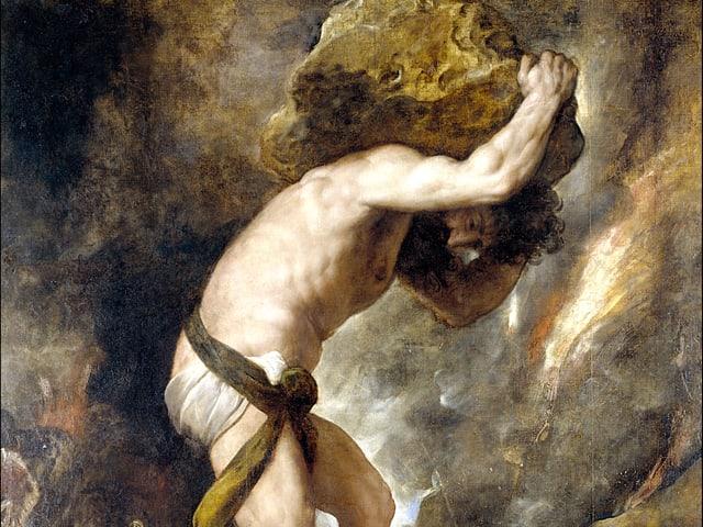 Sisyphos mit dem Stein auf den Rücken auf einem Gemälde von Tizian.