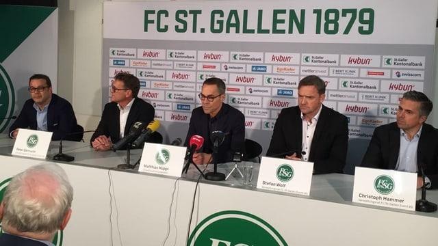 Die neue Verwaltungsrat des FCSG: Patrick Gründler, Peter Germann, Matthias Hüppi, Stefan Wolf, Christoph Hammer.