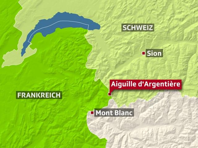 Karte Grenzbebiet Schweiz-Frankreich