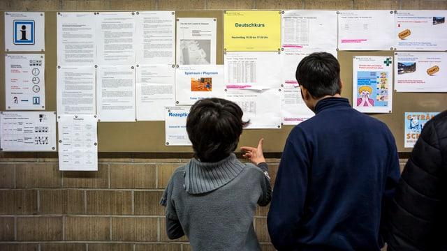 Asylsuchende studieren Informationen im Bundesasylzentrum Glaubenberg in Sarnen (OW).