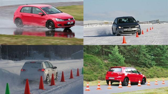 Vier verschiedene Fahrsituationen auf einer Teststrecke.