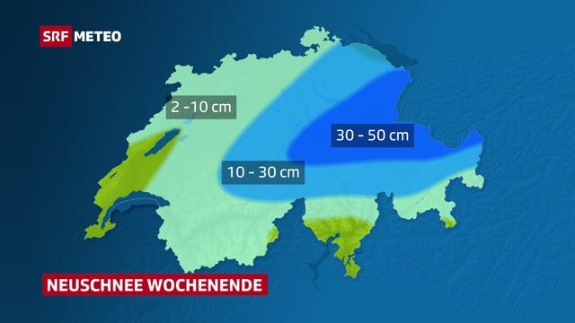 Karte mit dem am Wochenede erwarteten Neuschnee.