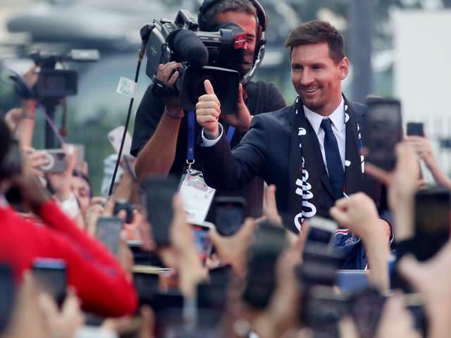 Lionel Messi bei seiner Vorstellung in Paris.