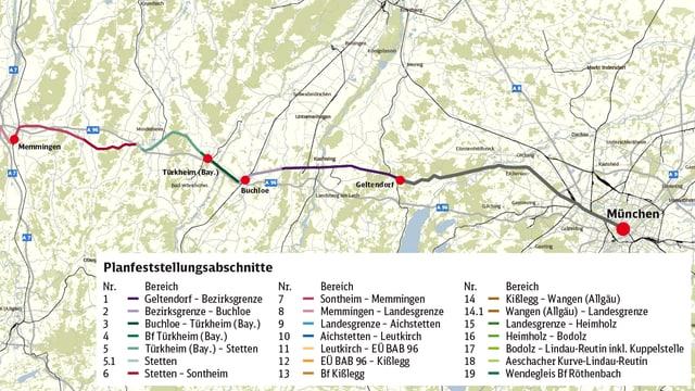 Eine Karte mit eingezeichneten Zugstrecken.