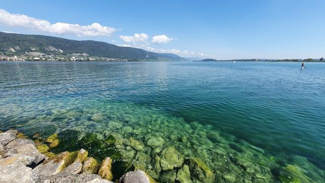 Blick von Erlach auf den Bielersee, der einen tiefen Wasserstand hat.