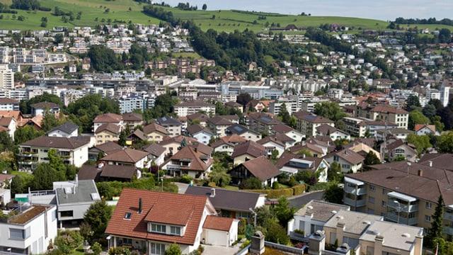 Eine Luftaufnahmen von Kriens.
