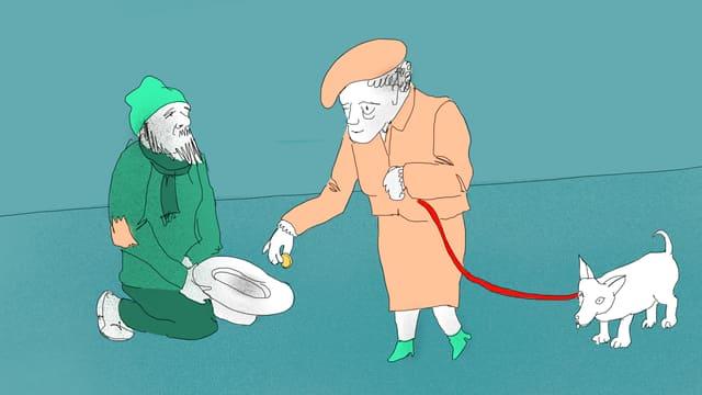 Eine Frau gibt einem Bettler ein wenig Geld.