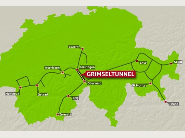 Schweizer Karte mit den Schmalspurbahnstrecken.