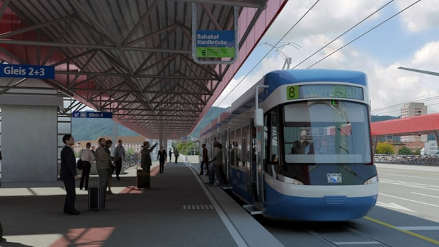 Visualisierung Tram auf der Hardbrücke