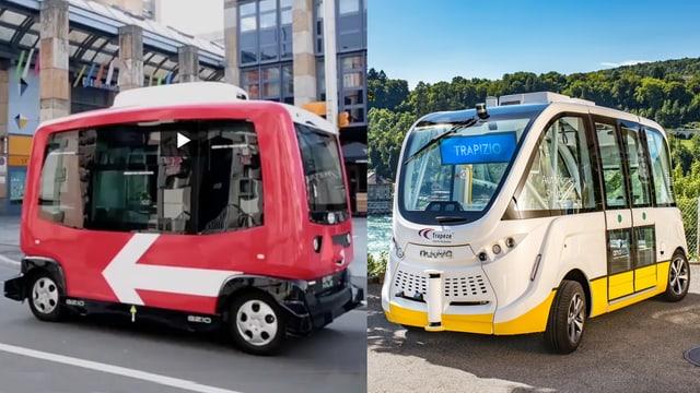 Zwei autonome Shuttles, das eine von der SBB in Zug rot, das andere von den Verkehrsbetrieben Schaffhausen, weiss mit gelbem Streifen unten.