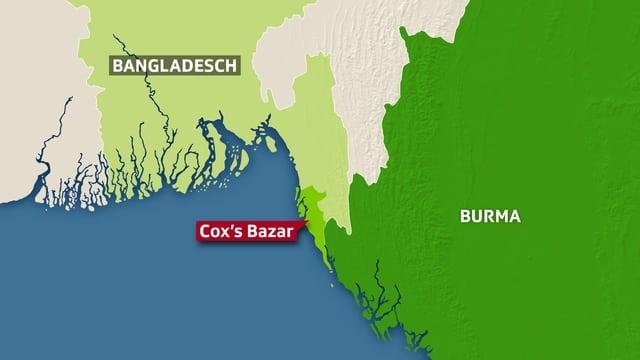 Karte mit Bangladesch und Burma, eingezeichnet auch Cox's Bazar.