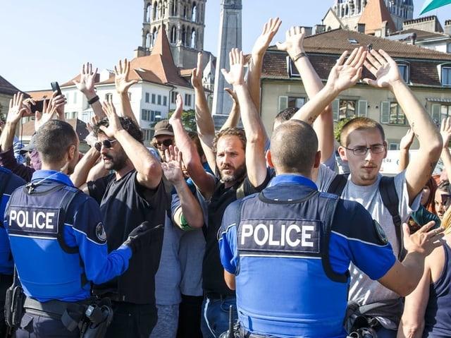 Gewaltfreier ziviler Ungehorsam an der Demonstration von XR in Lausanne vom 20. September.