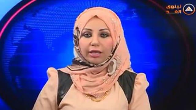 Bild einer Fernsehsprecherin mit Kopftuch.