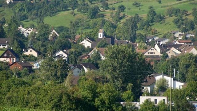 Blick aus der Ferne auf Bennwil im Oberbaselbiet