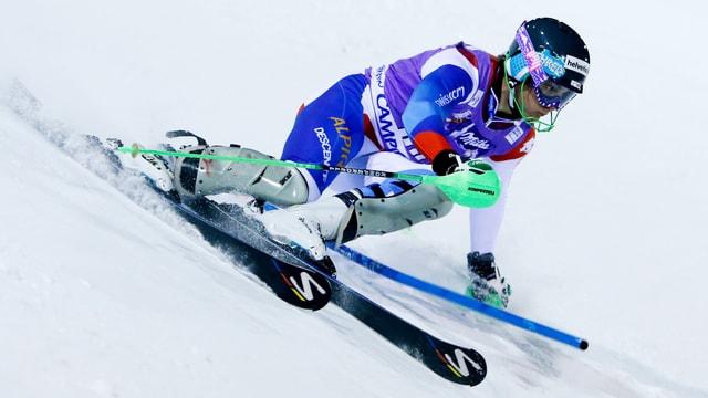 Luca Aerni beim Slalom in Madonna di Campiglio.